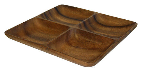 Mountain Woods Dark Brown 4 Compartment Square Acacia Wood Snack Serving Tray 1