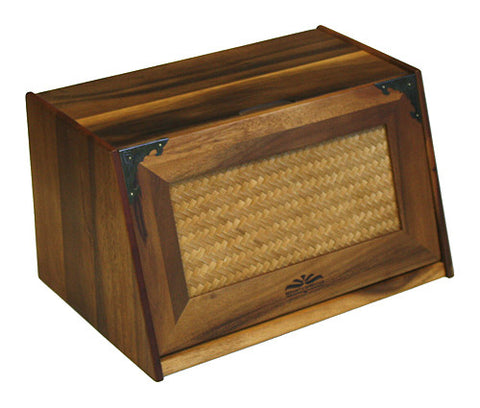 Mountain Woods Brown Bread Box with Rattan Lid 1