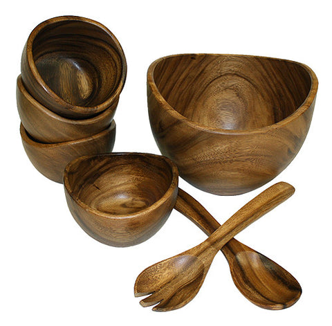Mountain Woods 7 Piece Organic Acacia Wood Serving Bowls & Utensils Set