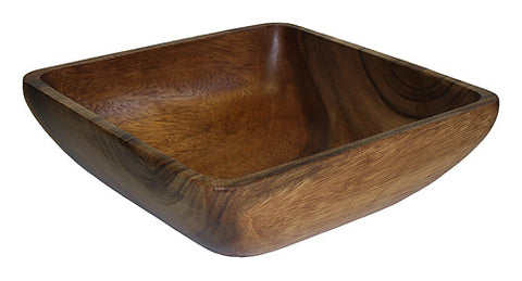 "Mountain Woods 12"" Square Artisan Acacia Wood Serving Bowl"