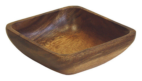 Mountain Woods Dark Brown Square Artisan Acacia Wood Bowl 1