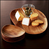 Mountain Woods Brown 5 Piece Organic Artisan Acacia Wood Serving Tray Set -16""