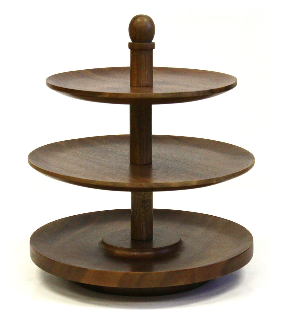 Mountain Woods Dark Brown 3 Tier Acacia Wood Lazy Susan Serving Tray 1