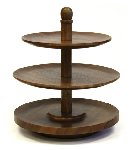 Mountain Woods 3 Tier Acacia Wood Lazy Susan Serving Tray
