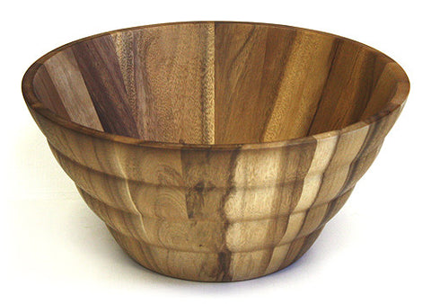 "Mountain Woods 16.875"" X 8"" Extra Large Ribbed Acacia Wood Serving Bowl"