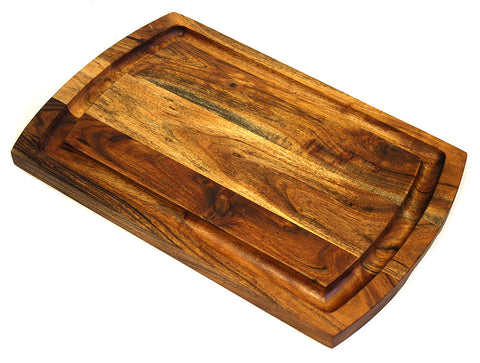 "Extra Large Organic Hardwood Acacia Cutting Board, with Juice groove, Best Kitchen chopping Board (Butcher Block) for Meat, Cheese, and Vegetable Serving Tray with Carved-In Handles, 18""X12""X1"""
