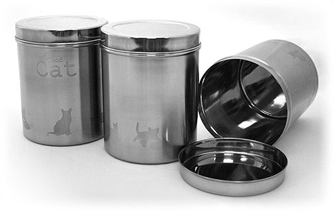 "3 Piece Stainless Steel Food Canister Set - 3.1 qt. / 98 fl. oz. - 6""(D) x 7.5""(H) (Good Cat)"