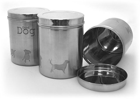 "3 Piece Stainless Steel Food Canister Set - 3.1 qt. / 98 fl. oz. - 6""(D) x 7.5""(H) (Good Dog)"