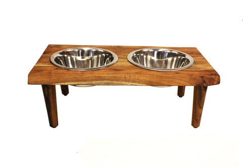 "Mountain Woods Large Pet Server Made with Live Edge Acacia Hardwood, 21.125""X12""X 7.375""H, perfect for Medium to Large pets"