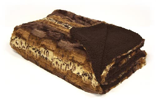 "Exotic Two Sided Faux Mink Fur Throw Blanket 50"" X 60"" (Mink Mix)"