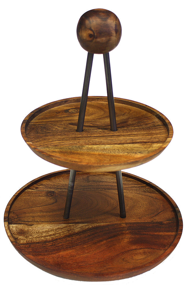 Mountain Woods Brown Solid Acacia Wood Two Tiered Serving Stand /  Tray 1