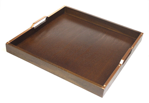 "Mountain Woods 20"" Wooden Serving Tray with Copper finish Handles"
