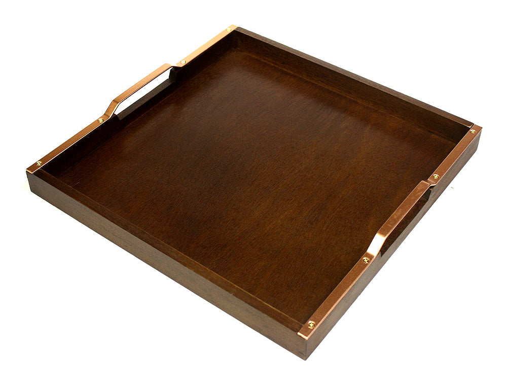 "Mountain Woods 16"" Wooden Serving Tray with Copper finish Handles"
