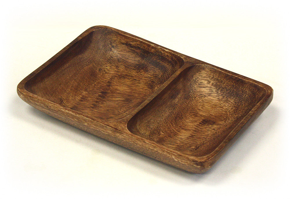 "2 Compartment 10"" X 6.5"" Organic Acacia Wood Serving Tray"