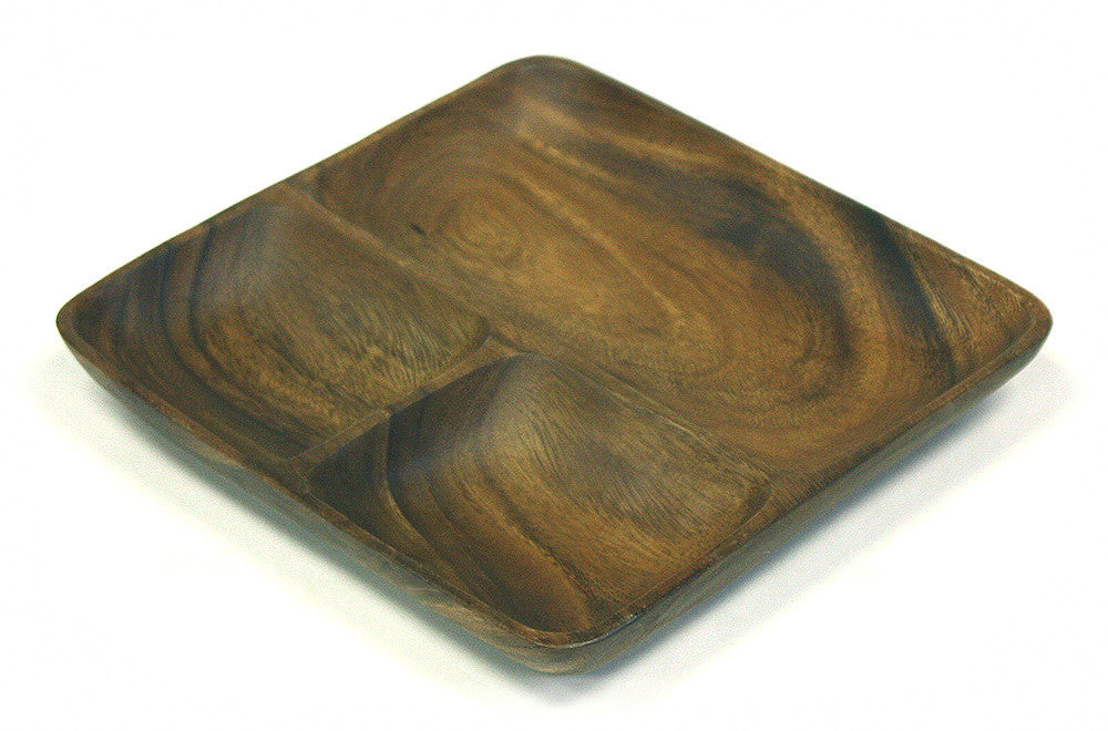 Mountain Woods Brown 3 Compartment Organic Square Acacia Wood Serving Tray 1