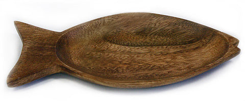"5"" X 9"" Acacia Hardwood Fish Shaped Bowl"
