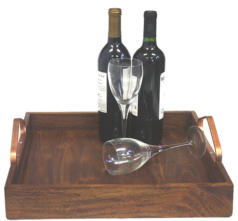 "Mountain Woods Large (16""X16"") Solid Acacia Wood Best Serving Tray with Copper Handles, Excellent presentation of drinks or appetizers"