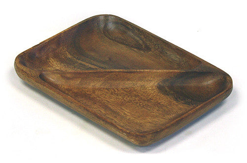 Mountain Woods Brown 2 Compartment Organic Acacia Serving Tray 1