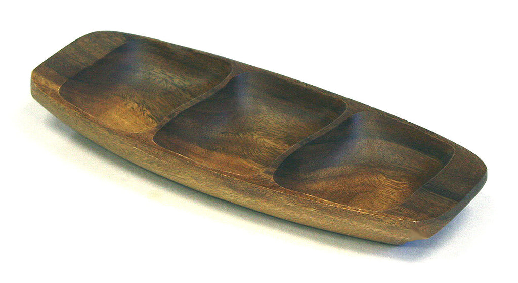 "Mountain Woods 3 Compartment Artisan Crafted Wavy Organic Acacia Serving Tray - 13""(L) x 5.125""(W) x 1.5""(H)"