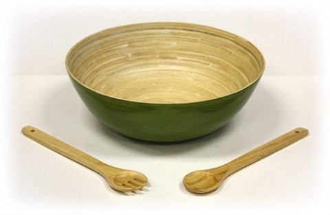 "Simply Bamboo 3 Piece 14"" X 5"" Glossy Celadon Green Bamboo Bowl & 12"" Wooden Utensils Set"