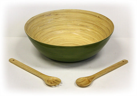 "Simply Bamboo 3 Piece 16"" X 5.5"" Glossy Celadon Green Bamboo Bowl & 12"" Wooden Utensils Set"