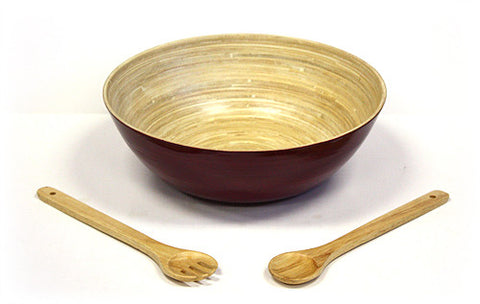 "Simply Bamboo 3 Piece 14"" X 5"" Glossy Mahogany Bamboo Bowl & 12"" Wooden Utensils Set"