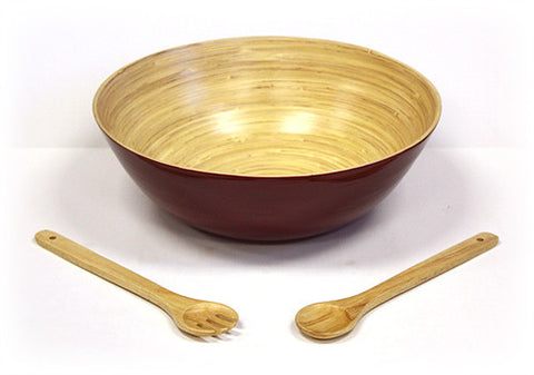 3 Piece 16 Inch Glossy Mahogany Bowl and Utensils Set