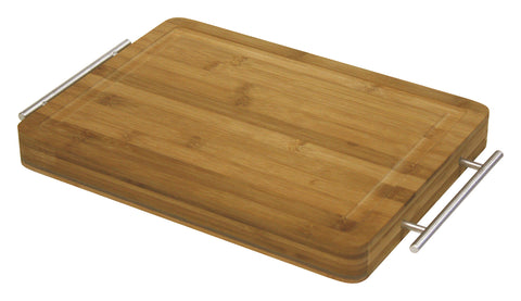 Simply Bamboo Brown Bamboo Carving, Chopping, & Serving Board w/ Metal Handles 1