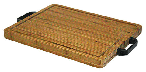 "Simply Bamboo Extra Large (19.625"" X 15.75"") Carving, Chopping, & Serving Board w/ Artisan-Crafted Heavy Duty Handles"