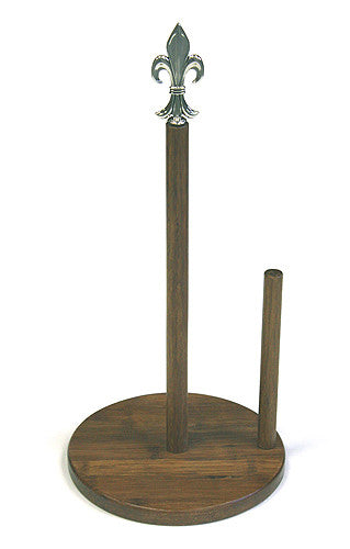 Simply Bamboo Carbonized Bamboo Paper Towel Holder w/ Metal Fleur-de-Lis Ornament