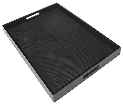"Simply Bamboo Extra Large (23"" X 16"") Ebony Black Bamboo Wood Rectangle Serving Tray"