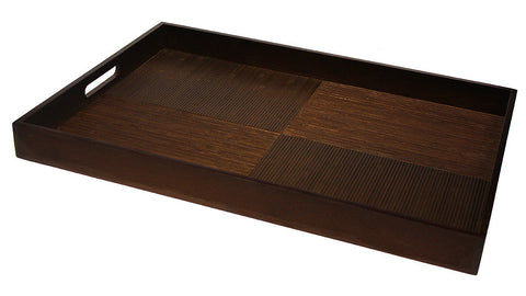 "Simply Bamboo Extra Large (23"" X 16"") Brown Black Bamboo Wood Rectangle Serving Tray"