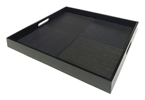 "Simply Bamboo Extra Large (20"" X 20"") Ebony Black Bamboo Wood Rectangle Serving Tray"