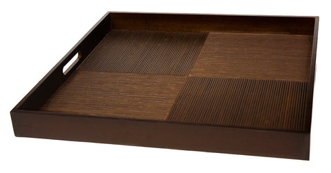 "Simply Bamboo Extra Large (20"" X 20"") Brown Black Bamboo Wood Square Serving Tray"