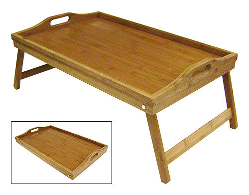 "Simply Bamboo Extra Large (22"" X 14"") Rectangle Bamboo Wood Bed Serving Tray w/ Folding Legs"