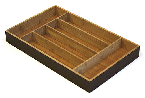 Simply Bamboo Rich Espresso Brown 6 Compartment Bamboo Organizer Tray 1