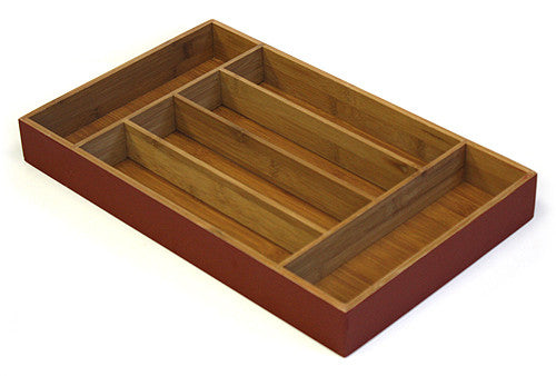 Simply Bamboo Deep Burgundy Red 6 Compartment Bamboo Organizer Tray 1