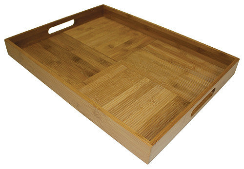"Simply Bamboo Large (20"" X 15"") Criss-Cross Rectangular Serving Tray"