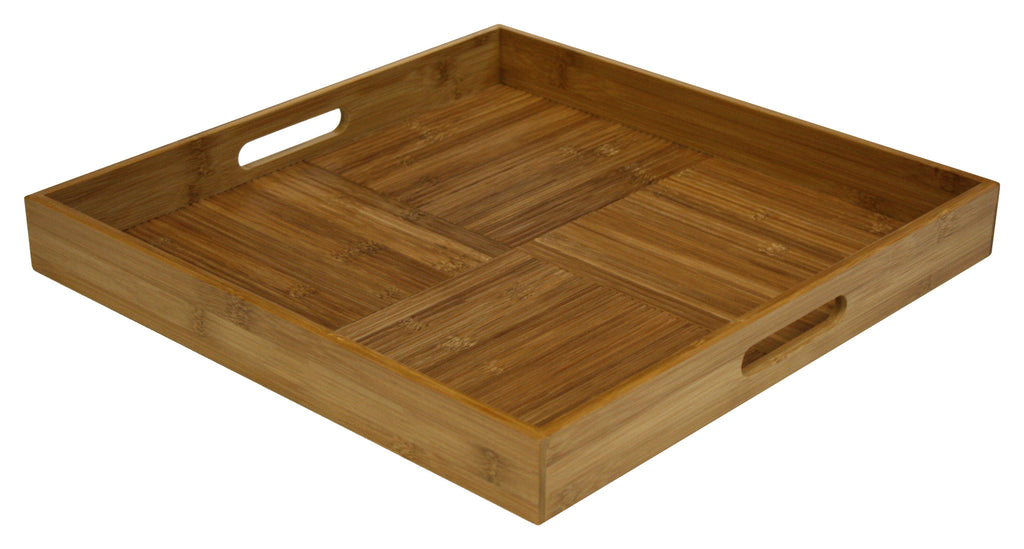 "Simply Bamboo 17"" X 17"" Square Ottoman Serving Tray, Natural Bamboo"