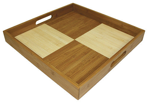 "Simply Bamboo Two-Tone 16"" X 16"" Square Ottoman Serving Tray, Natural Bamboo"
