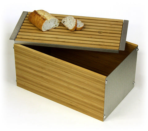 Simply Bamboo Extra Large Napa Bamboo & Brushed Stainless Steel Bread Box w/ Crumb Tray Cutting Board Lid