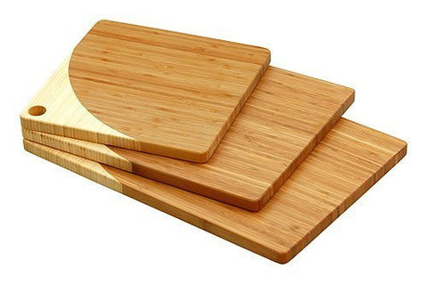 Simply Bamboo 3 Piece Maui Brown Bamboo Board Set 1