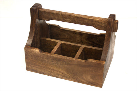 Mountain Woods Brown 4 Compartment Mango Wood Condiment Caddy 1