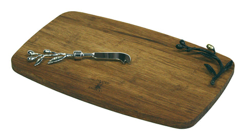 Simply Bamboo Brown Medium Kona Berries Artisan Crafted Carbonized Bamboo Cheese Board / Serving Tray & Spreader Knife Set 1