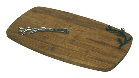 Simply Bamboo Large Kona Berries Artisan Crafted Carbonized Bamboo Board / Serving Tray & Spreader Knife Set