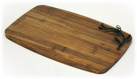 "Simply Bamboo Medium (13.75"" X 8.75"") Kona Berries Artisan Crafted Carbonized Bamboo Cheese Board & Serving Tray"
