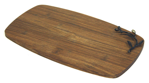 "Simply Bamboo Large (16.5"" X 9.75"") Kona Berries Artisan Crafted Carbonized Bamboo Cheese Board & Serving Tray"