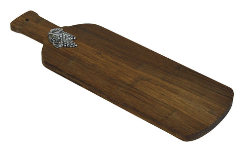 Simply Bamboo Large Grape Vine Artisan Crafted Carbonized Bamboo Paddle Cutting and Serving Board 1