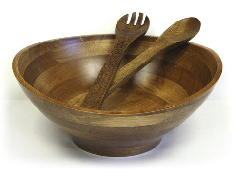 Mountain Woods 3 Piece Artisan Crafted Acacia Hardwood Ellipse Wavy Rim Serving Bowl Set
