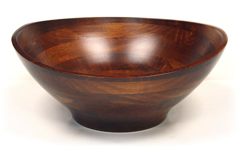 Mountain Woods Brown Artisan Crafted Cherry Finish Hardwood Ellipse Wavy Rim Bowl 1